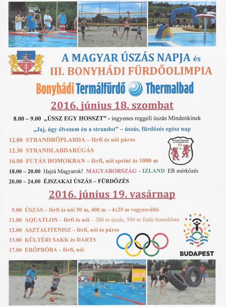 III. Bonyhádi Fürdőolimpia plakát